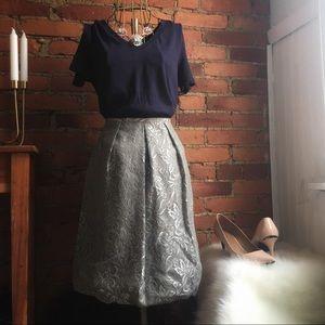 Loft Silver Lace Bubble Skirt